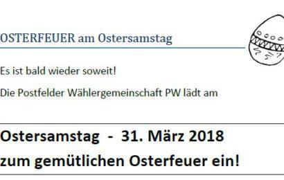 Postfelder Osterfeuer 2018 am Ostersamstag!