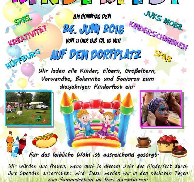 Kinderfest in Postfeld am 24. Juni 2018